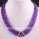 Fashion pretty 3 rows 6mm round beads stone purple jades stone chalcedony <b>making</b> Necklace Y0060