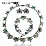 Blucome Vintage Flower Choker <b>Necklace</b> Earrings Bracelet Set Green Crystal Party <b>Jewelry</b> Sets Women Girls Wedding Accessories