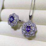 Natural blue tanzanite gem <b>jewelry</b> sets natural gemstone Pendant ring 925 <b>silver</b> luxurious snowflake Flower women fine <b>jewelry</b>