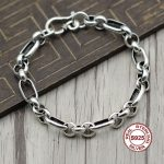 S925 Sterling <b>Silver</b> <b>Bracelet</b> Simple and elegant Personality couple style Smooth circles polished Send a gift to love