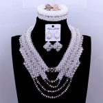 African Wedding Jewelry Set White <b>Silver</b> Jewellery Necklace Set For Women Nigerian Beads Necklace Jewelry Set For Weddings 2018