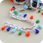 50 yards Rainbow Tassel Lace Trim Cotton Fabric Ribbon Fringe Neon Multi Coloured Tassel Fringe garland <b>Supply</b>