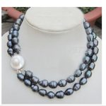 Wedding Top Real Pearl 10-11mm AAA Natural Black Colors Pearl <b>Handmade</b> 2 Layer Necklace Women <b>Jewelry</b> Freshwater Fashion Gift