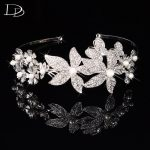 elegant flowers design bridal tiara for women simulated pearl crown wedding party hair accessories crystal <b>fashion</b> <b>jewelry</b> HF027