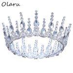 Olaru Vintage Baroque Crystal Princess Bride Floral Crown Tiara Woman Rhinestone Wedding <b>Jewelry</b> Luxury Headband Accessories New