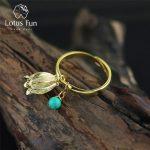 Lotus Fun Real 925 Sterling Silver Natural Turquoise <b>Handmade</b> Designer Fine <b>Jewelry</b> Redbud Flower Rings for Women Bijoux