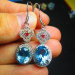 On Sale Fine Jewelry real high quality 925 sterling <b>Silver</b> 100% Natural Blue Topaz Gemstone <b>Earrings</b> For Women Fine <b>earrings</b>