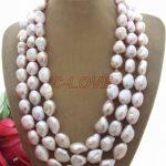 3 strands 15 MM Purple Baroque Pearl <b>Necklace</b> free shipment