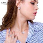 KINDLEGEM 2018 Romantic Crystal Cherry Blossom Pendant Flower Necklace <b>Earrings</b> Ring Chain S925 Sterling <b>Silver</b> Jewelry Set