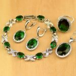 Round Silver Color <b>Jewelry</b> Green Created Emerald White CZ <b>Jewelry</b> Sets For Women Earrings/Pendant/<b>Necklace</b>/Rings/Bracelet