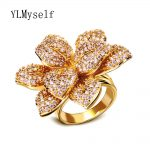 2018 luxury leaf ring Freeshipping large flower Fashion <b>Jewelry</b> for Women aneis feminino jewellery Ladies Band big trendy rings