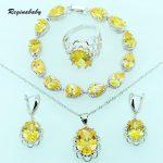 Yellow Zircon Bridal Jewelry Sets <b>Silver</b> Color Overlay Women Wedding Crystal <b>Bracelets</b>/Necklace/Earrings/Ring/Pendant