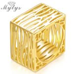 Mytys Yellow and White gold Color New Fashion Square Hollow Ring Metal Rings Fingers <b>Jewelry</b> Party <b>Accessories</b> R1138 R1139