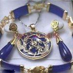 Women's Wedding Beautiful purple gem Dragon Pendant Necklace Earrings Bracelet Set>AAA GP Bridal w moda real silver <b>jewelry</b>