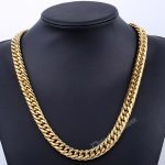 Davieslee 316L Stainless Steel Men <b>Necklace</b> Gold Color Curb Chain Fashion <b>Jewelry</b> Wholesale Dropshipping DLHN76