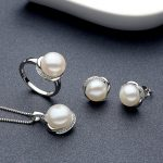 Sinya Fine jewelry set include Ring <b>Earring</b> and Necklace in 925 Sterling <b>silver</b> with natural pearl diameter 10-11mm for women