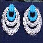 GODKI 50mm Blue Luxury Trendy Circle Water Drop Cubic Zirconia Naija <b>Wedding</b> Party Earring Fashion <b>Jewelry</b> for Women
