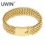 UWIN Gold Triple Franco Hip Hop <b>Bracelet</b> Men's Trendy Stainless Steel <b>Silver</b> <b>Bracelet</b> Chain Charm Wristband Wrap Bangles