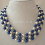 Fashion 3 Rows New charming White Pearl & Lapis Lazuli Clasp Necklace BV357 Beads <b>Jewelry</b> <b>Making</b> Natural stone Wholesale Price