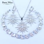 New Arrival Star Squre White Zircon 925 Stamp Silver Color <b>Jewelry</b> Sets For Women Bracelets Pendant Drop Earrings Necklace Sets