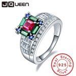 JQUEEN 5.73ct Ruby Emerald Sapphire 925 <b>Sterling</b> <b>Silver</b> Wedding Rings for Women Luxury <b>Jewelry</b> Female s925 <b>Silver</b> Drop Shipping