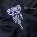 Victoria palace 925 <b>sterling</b> <b>silver</b> with cubic zircon brooch pins luxury <b>jewelry</b> fashion women <b>jewelry</b> white with blue color