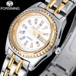 FORSINING fashion men quartz watch stainless steel band luxury rhinestone casual men's auto date gold watches relogio masculino