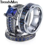 Trendsmax Men's Women's Romantic Wedding Band Rings For Lover Gold Filled Couple Rings For Engagement Party <b>Jewelry</b> GR30