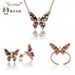 SG 925 Sterling <b>Silver</b> Jewelry Sets Butterfly <b>Necklace</b> Pendant & Stud Earrings & Ring For Women Engagement Wedding Gift 2018