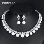 Mecresh Round Simulated Pearl Bridal <b>Jewelry</b> Sets Gorgeous CZ <b>Necklace</b> Sets 2017 European Hot Wedding Engagement <b>Jewelry</b> MTL499