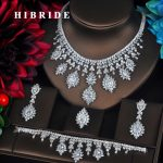 HIBRIDE 4 PCS Sets Luxury Shinny Cubic Zirconia Queen Women Jewelrt Sets Bridal <b>Fashion</b> <b>Jewelry</b> Wedding Party Necklace Set N-334