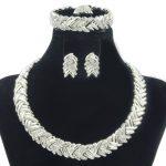 New Italian Fashion Bridal Party Jewelry Dubai Crystal Design Necklace Earrings <b>Bracelet</b> Women <b>Silver</b> Jewelry Set Gift Jewelry