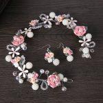 Hair <b>Jewelry</b> Handmade Pink Ceramic Flower Pearl Bridal Headband tiara For Wedding Hair Accessories Head piece Hairwear FD062