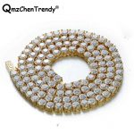 Top Quality Bling Iced Out 1Row CZ Tennis Chain Men's Hip hop <b>Necklace</b> Golden <b>Silver</b> Copper Jewelry 18/20/24/30 Inch