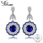 JewelryPalace Luxury 7.0ct Created Sapphire Flower Drop <b>Earrings</b> Real 925 Sterling <b>Silver</b> Jewelry Birthday Gift for Girlfriend