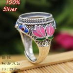 TOP 100% 925 Sterling Silver Ring Blank <b>Jewelry</b> Fit Oval 12*17mm Royal Cloisonne Vintage Ring Base for women DIY <b>Handmade</b>