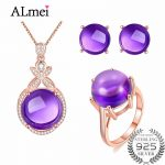 Almei 925 Sterling <b>Silver</b> Purple Amethyst Crystal Jewelry Set <b>Earrings</b>/Pendant/Necklace/Ring For Women Free Jewelry Box CT005