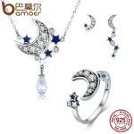 BAMOER Genuine 925 Sterling <b>Silver</b> Jewelry Set Moon & Star Dazzling CZ Bridal Jewelry Sets Sterling <b>Silver</b> Jewelry ZHS040