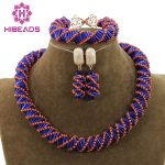 Unique Orange/Blue Mix <b>Jewelry</b> Beads Necklace Set <b>Handmade</b> Choker Costume <b>Jewelry</b> Set for Party Free Shipping WD989