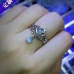 Natural moonstone gem Ring Natural gemstone Ring 925 sterling <b>silver</b> Stylish elegant two wears Crown water drop women <b>Jewelry</b>