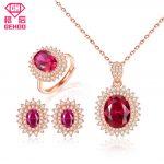 GEHOO Pretty Ruby Gemstone Fine Jewelry Set 925 Sterling <b>Silver</b> Zircon Women Ring <b>Earrings</b> Pendant Necklace for Wedding Bridal