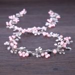 Pink Pearl Headband Wedding Hair <b>Jewelry</b> For Bride Long Headband Rhinestone Tiara Hair Accessories High Quality Copper Line 98cm