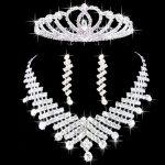 New classical Bride Rhinestone <b>jewelry</b> three piece set post wedding necklace crown earring set Korean wedding <b>accessories</b>