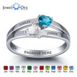 Personalized 925 Sterling Silver Double Heart Birthstone Ring DIY Name Ring Customize <b>Jewelry</b> Unique Gift (JewelOra RI101976)