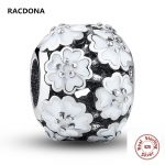 Retro 925 Sterling Silver Darling Daisy Meadow White Enamel Flower Floating Charm Fit pandora Bead Bracelet DIY <b>Jewelry</b> <b>Making</b>