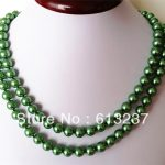 Fashion green trendy shell round simulated-pearl 10mm beads charming diy necklace for women chain <b>jewelry</b> <b>making</b> 36inch MY4189