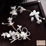 Korean bride headdress white silk yarn butterfly hairband hoop <b>wedding</b> tiara hair <b>jewelry</b> accessories wholesale