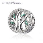 ATHENAIE 925 Sterling <b>Silver</b> with CZ Family Heritage Tree Bead Charms Fit <b>Bracelets</b> Women Beads & Jewelry Making