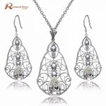 Elegant Bride Jewelry Sets For Women 925 <b>Silver</b> Water Drop Zircon Crystal CZ <b>Earrings</b> Pendants Natural Pearl Wedding Jewelry