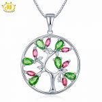 Hutang Natural Chrome Diopside Rhodolite Garnet Tree Pendant 925 Sterling <b>Silver</b> Topaz Gemstone <b>Necklace</b> Fine Jewelry For Gift
